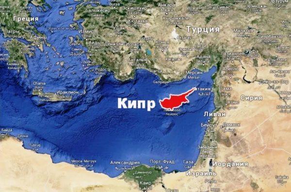 Фото на котором можно увидеть, где находится Кипр на карте мира