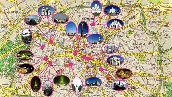 Схема достопримечательностей Парижа
